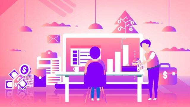 pink gradient phẳng gió quản lý tài chính minh họa Hình minh họa