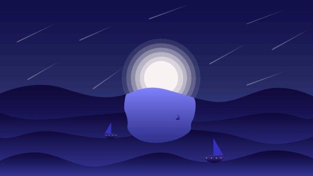 바다 밤 어두운 파란색 장면 그라데이션 그림 삽화 소재