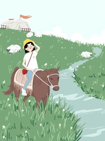 草原旅行乗馬少女小さな新鮮なオリジナルのイラスト イラスト画像