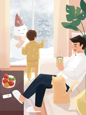 original illustration snowy day drinking tea in a warm interior llustration image