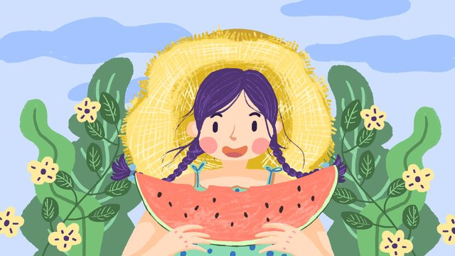तरबूज खाने वाली प्यारी लड़की चित्रण छवि