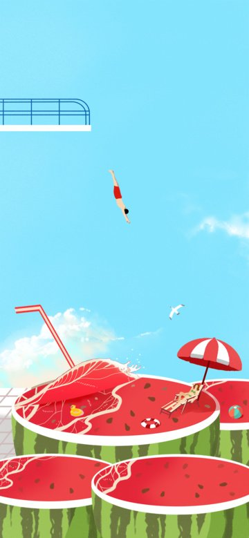 big summer beautiful diving watermelon beach take a cool illustration llustration image