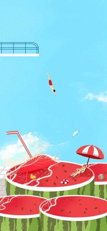 큰 여름 아름다운 다이빙 수박 해변 멋진 그림을 가져 가라 삽화 소재