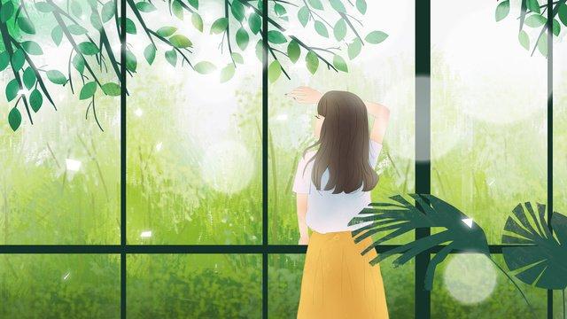 Summer heat is the fresh small girl hand-painted, Great Heat, Summer, Midsummer illustration image