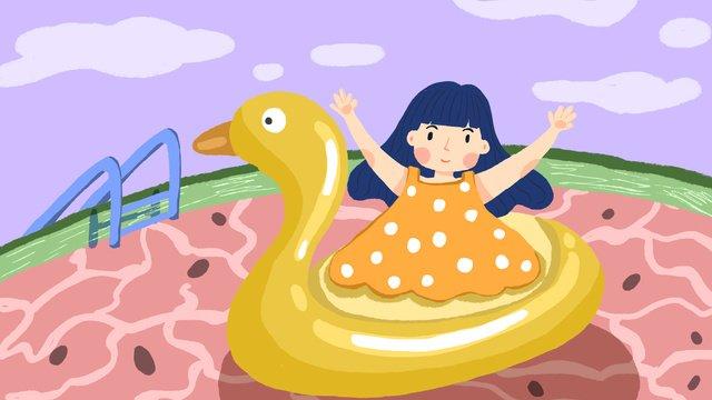 二十四節氣大暑小女孩插畫 插畫素材 插畫圖片