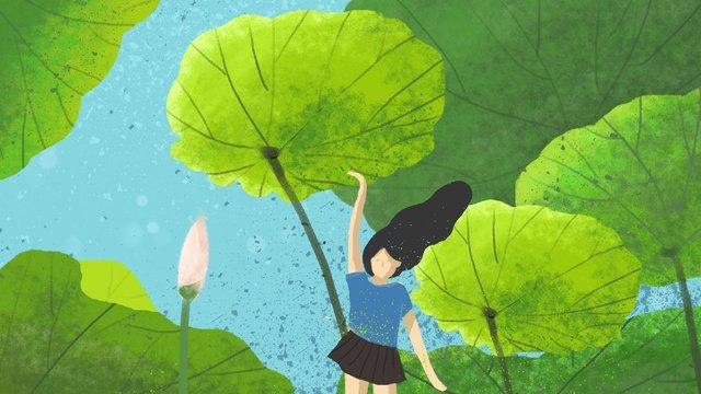 大暑節氣光溢青荷大暑  二十四節氣  傳統節氣PNG和PSD圖片素材 illustration image