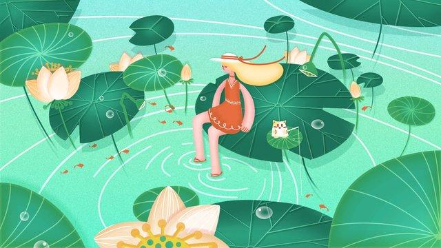 Summer girl small fresh festival illustration, Green, Blue, Lotus illustration image