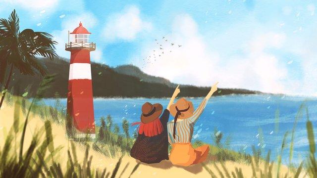 夏日旅行海岸線燈塔女孩手繪插畫 插畫素材