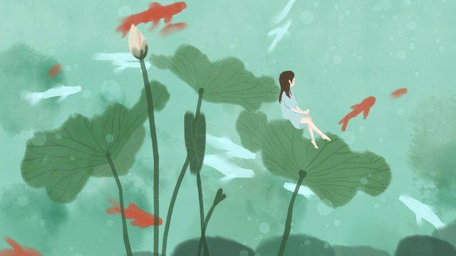 green lotus pond flower koi girl hand drawn illustration llustration image