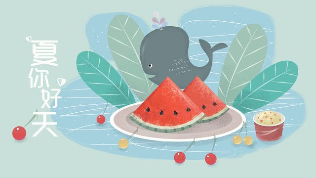 Green small fresh watermelon whale summer hello illustration, Green, Small Fresh, Watermelon illustration image