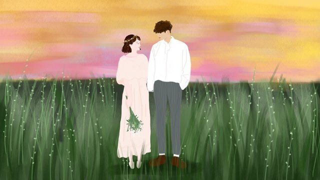 Green valentine Couple Small forest Sunset lightManis  Kecil  Segar PNG Dan JPA illustration image