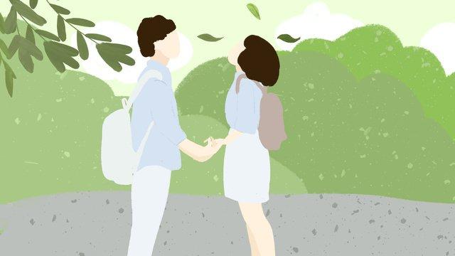 ngày lễ tình yêu xanh mùa hè ngoài trời bàn tay nhỏ tươi vẽ minh họa cặp đôi Hình minh họa