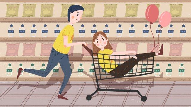 グリーンバレンタインデーのショッピングスーパーマーケット イラストレーション画像 イラスト画像