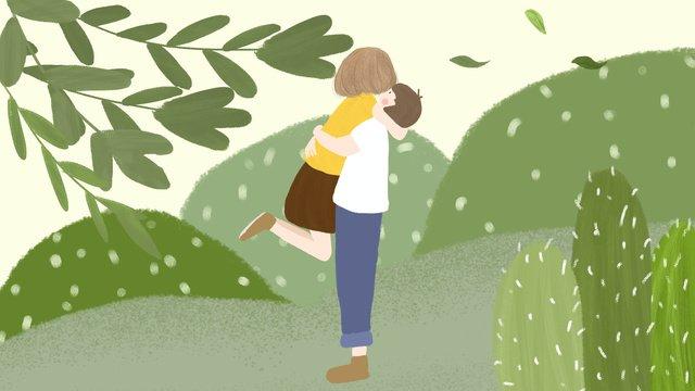 green day  người tình yêu ngọt ngào ôm original bằng tay vẽ minh họa cho Hình minh họa