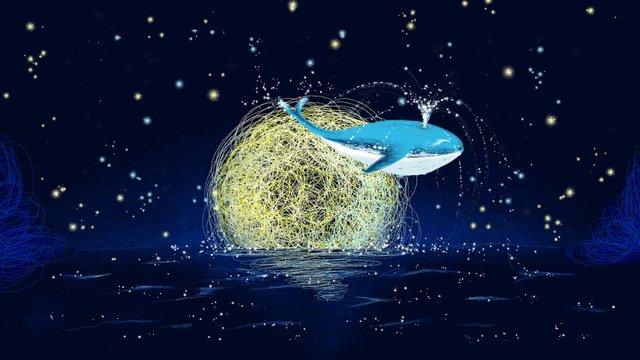Mer bobine dessinée avec illustration de cure baleine à la mainDessiné  à  La PNG Et PSD illustration image