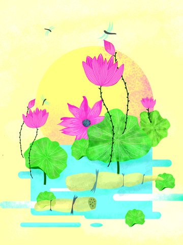 Simple summer solstice fresh original hand-painted lotus illustration, Hand Painted Lotus, Dragonfly, Lotus illustration image