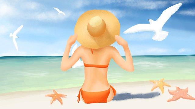 Купальник девушки на пляже глядя море наблюдая за чайкой Ресурсы иллюстрации