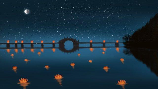 Travel hangzhou night west lake mid autumn festival lantern illustrator poster good hello llustration image illustration image