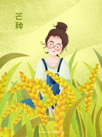 トリミングされた倹約小麦畑の少女オリジナルイラストポスター イラスト素材