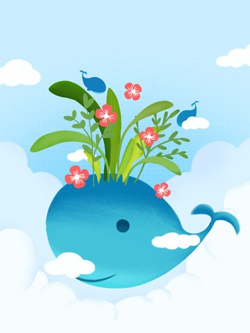 Healing Beautiful Small fresh whale, Plant, Flowers, Business Poster illustration image