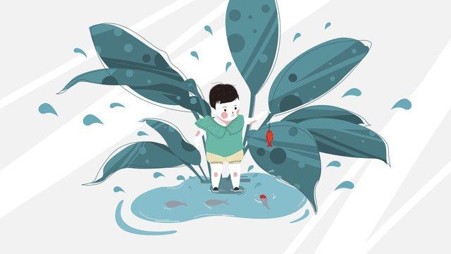 치유 시스템 작은 신선한 원래 그림 낚시 소녀 삽화 소재