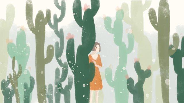 緑のサボテンの森ガール手描きイラスト癒し系  グリーン  サボテン PNGおよびPSD illustration image