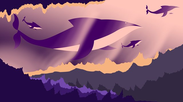 원래 그림 깊은 바다 고래 치유 시스템 삽화 소재 삽화 이미지