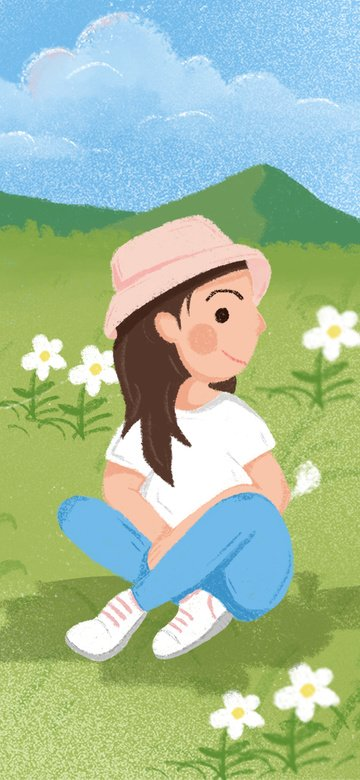 hello august summer prairie cartoon girl small fresh flower illustration llustration image illustration image