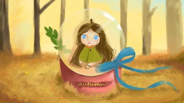 가 hello 크리스탈 공 소녀 질감 그림 삽화 소재 삽화 이미지