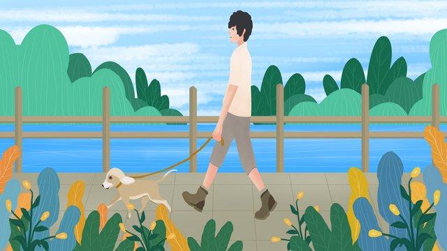 こんにちは、おはようございます、犬の散歩、少年イラスト イラスト素材