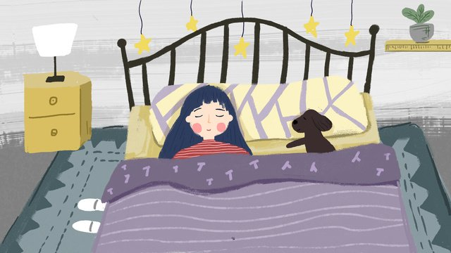 Hello good night sleep., Hello Goodnight, Good Night, Girl illustration image