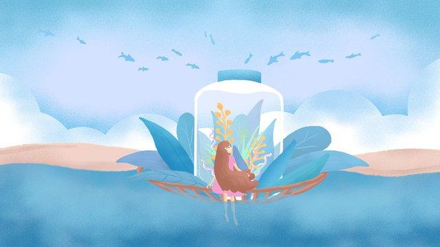 minh họa ban đầu tháng tám hello girl trôi chai Hình minh họa Hình minh họa