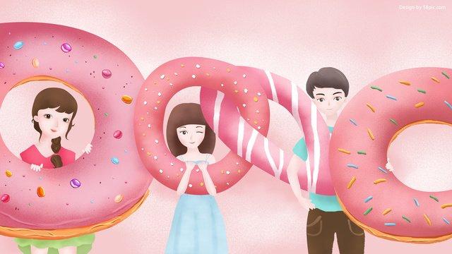 minh họa gốc tháng 8 hello donut girl Hình minh họa Hình minh họa