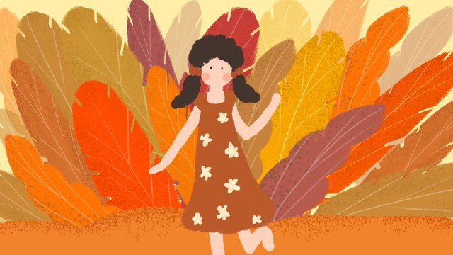 Hello series little girl orange red small fresh cure leaves illustration, Hello Series, August, Little Girl illustration image