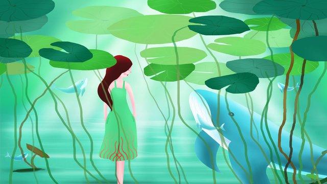 夏天你好之水中避暑插畫 插畫素材 插畫圖片