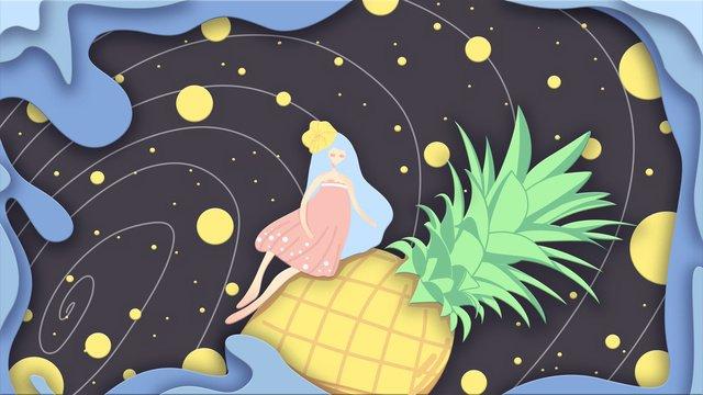 hello summer pineapple planet and girlish dream micro stereo صورة llustration