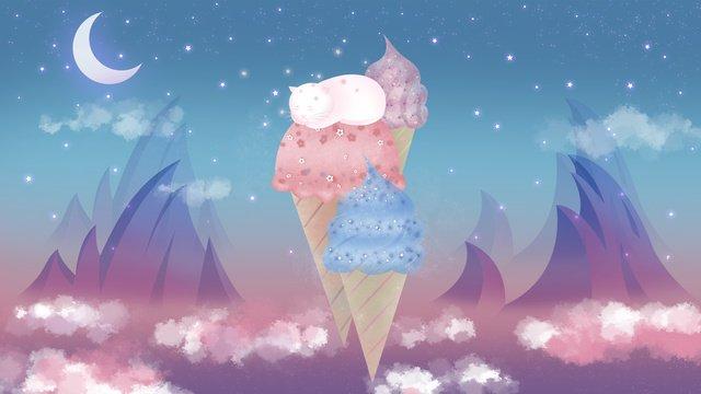 Quiet summer night ice cream on a sleeping cat, Hello Summer, Summer, Night illustration image