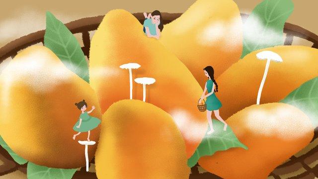 オリジナルイラスト夏こんにちはマンゴーフルーツガール イラスト素材 イラスト画像