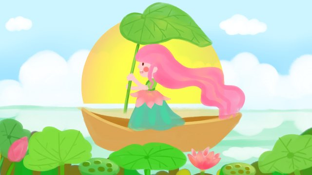Hello august summer little girl lotus leaf llustration image illustration image