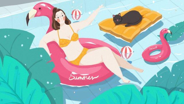 夏天你好 | swimming 插畫素材 插畫圖片