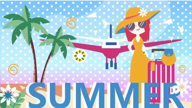 Hello august summer vacation travel sunglasses girl, Hello There, August, Hello Series illustration image