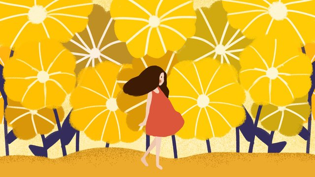 hello series girl yellow flower hand painted illustration original small fresh llustration image illustration image