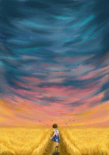 麦畑と遠方の女の子のイラスト イラスト素材 イラスト画像