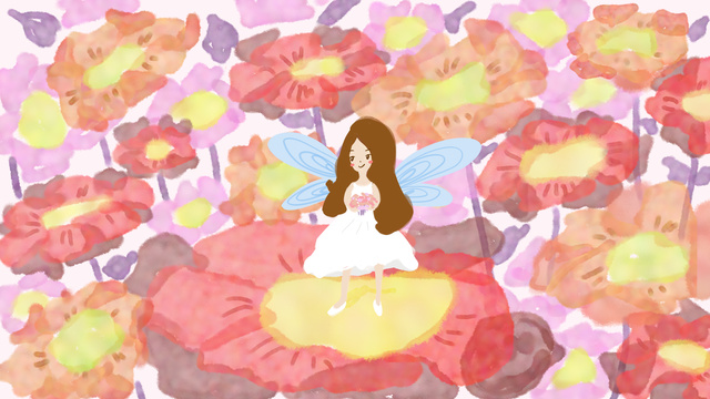 Beautiful romantic fairy tale original illustration flower in the sea of flowers, Hello There, August, Hello Series illustration image