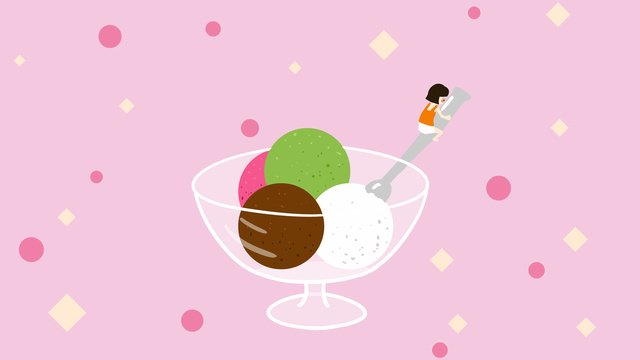 Hello august summer girl ice cream cute hand drawn illustration, Hello There, August, Hello Series illustration image