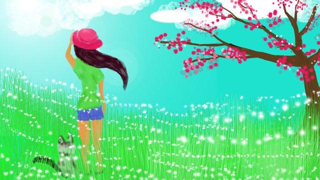 Hello summer small fresh illustration, Hello There, Summer, Cool Breeze illustration image