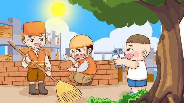 高温の防衛戦の労働者の清掃員は避暑して手でオリジナルの挿し絵をかきます イラスト素材
