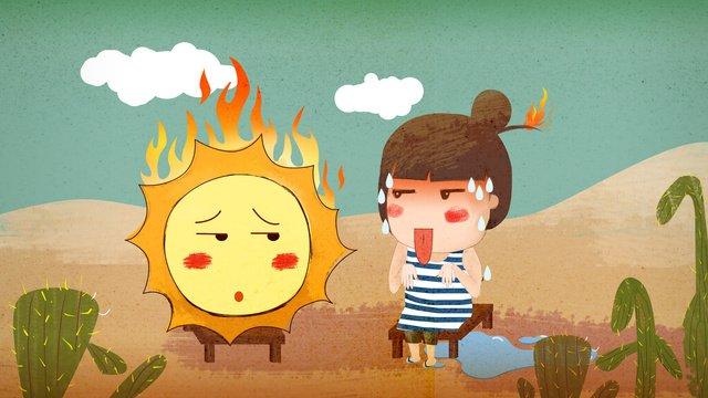 高温警告、私は太陽とのデート、かわいい漫画の手描き イラスト素材