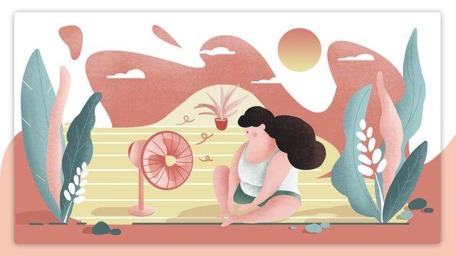 高温警告夏少女オリジナルイラスト イラスト素材 イラスト画像