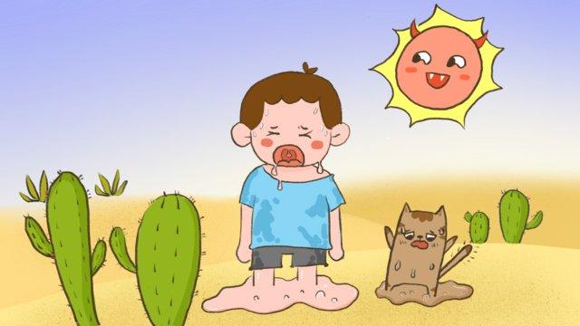 高温警告かわいい漫画の子供たちのイラストを加熱 イラスト素材 イラスト画像